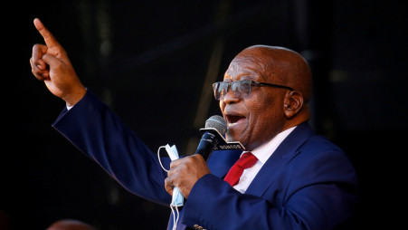 Former South African President Jacob Zuma, who is facing fraud and corruption charges, sings after his appearance in the High Court in Pietermaritzburg, South Africa, May 26, 2021. Photo :Reuters
